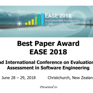 Best Papers Awards, EASE2018